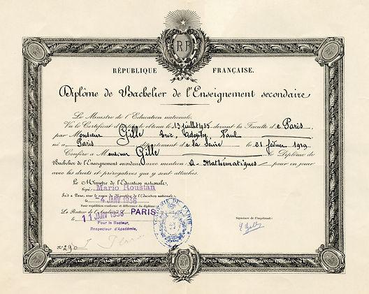 Diplôme de baccalauréat Mathématiques (1935), Eric Gille, source archives familiales