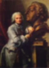 Jean Valade, Portrait de Jean-Baptiste Lemoyne sculptant le portrait de Louis XV (1754), Versailles