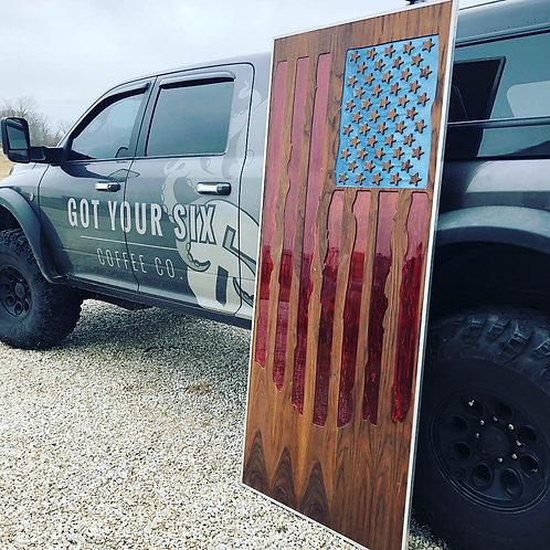 "American Flag - Resin Inlay -36"" x 82"""