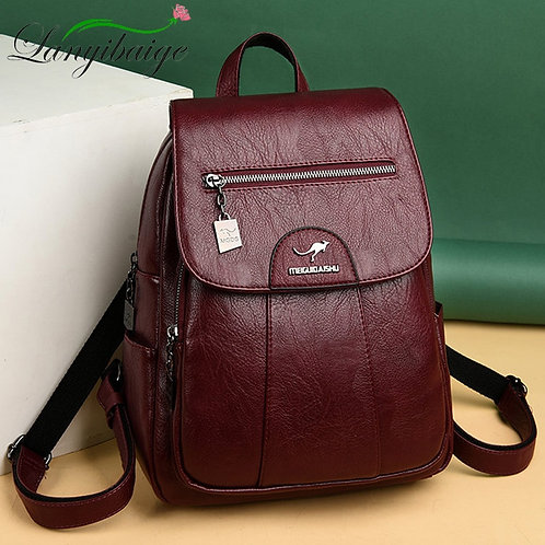 2020 Women Leather Backpacks High Quality Female Vintage Backpack