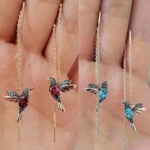 Unique Long Drop Earrings Bird Pendant
