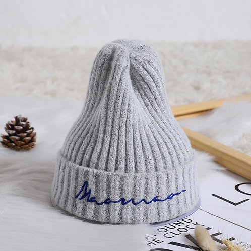 Baby Cap Embroidered Letters Children's Knit Hat Crochet Baby Beanie