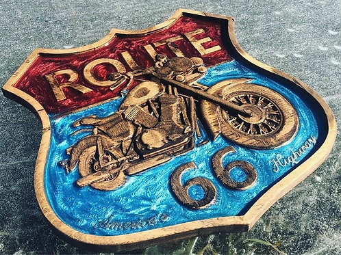 Route 66 Motorcycle Sign