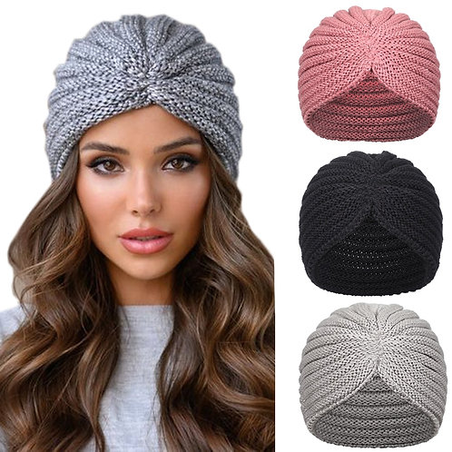 Haimeikang Women New Bandanas Turban Winter Knit Cap Center Cross Hair Scarfs