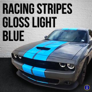 Gloss Light Blue Racing Stripes