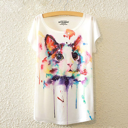 Dripping Watercolour Cat Face T-shirt
