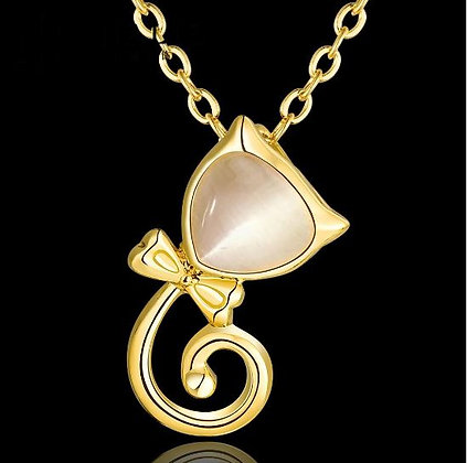 Triangular Cats Eye Necklace - Yellow Gold