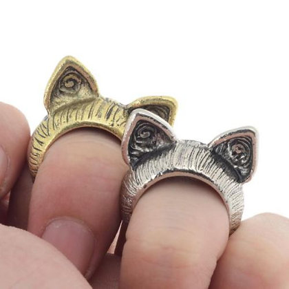 Antique Bronze or Silver Cat Ears Ring