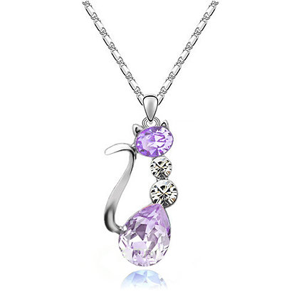 18K GP Austria Crystal Cat Necklace - Violet