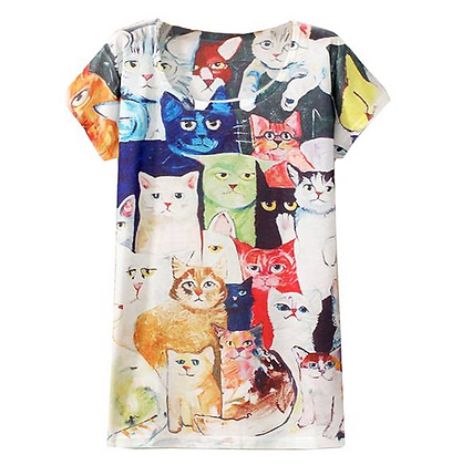 """Painted Cat Family"" Top"