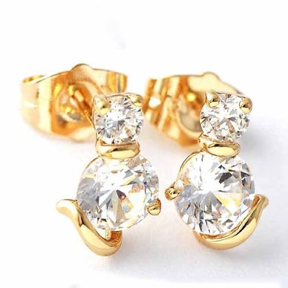 Crystal Cat Stud Earrings - Clear