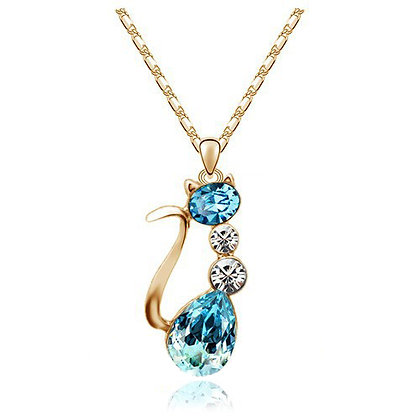 18K GP Austria Crystal Cat Necklace - Blue
