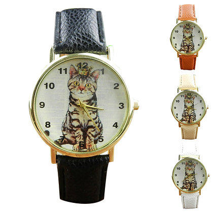 Tabby Cat with Crown Wristwatch