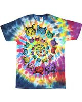 """Psychedelic Cat Heads"" Tie-Dyed T-Shirt"