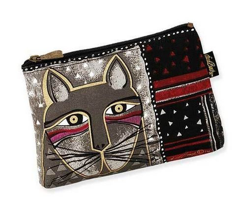 """""""Whiskered Cat"""" Cosmetic Bag - Grey"""