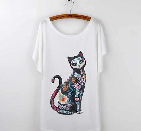 Day of the Dead Painted Cat Top