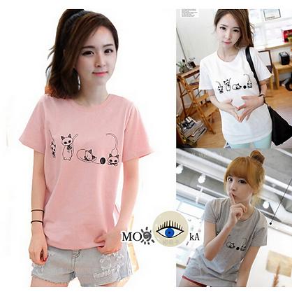 4 Cat Poses T-Shirt - Pink