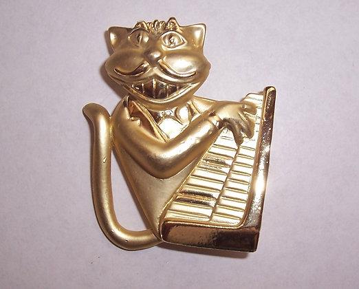 """""""Jazz Piano Cat"""" Brooch"""
