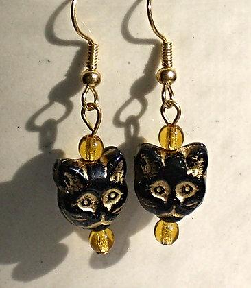 Black Cat Face Beaded Earrings
