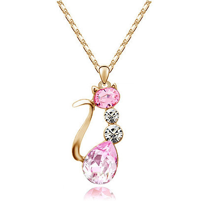 18K GP Austria Crystal Cat Necklace - Pink