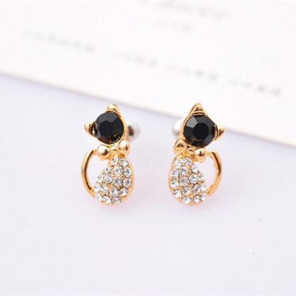 Crystalled Black Head Cat Earrings