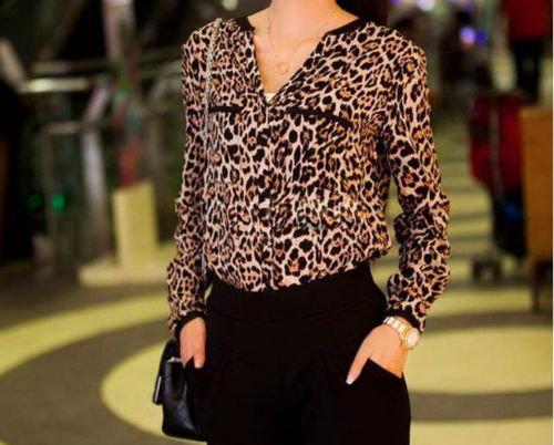 V-Neck Leopard Print Chiffon Blouse