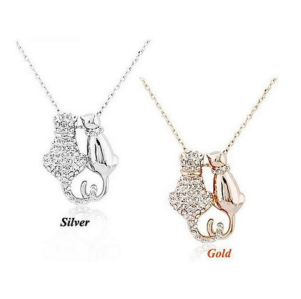 Crystaled & Smooth Cat Couple Necklace