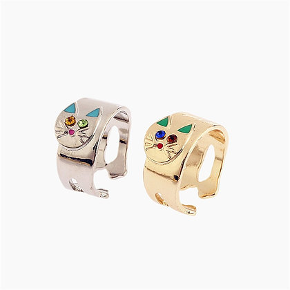 Colourful Crystal & Enamel Cat Ring