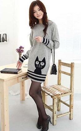 Black Cat on Grey Sweater