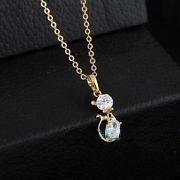 Dainty Gold Filled Crystal Cat Necklace