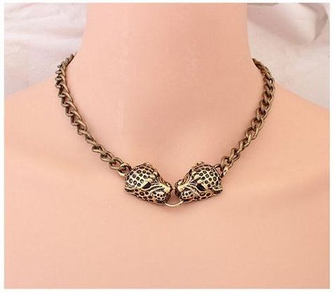 Double Leopard Head Choker Necklace