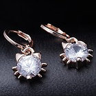 Crystal Cat Head Earrings