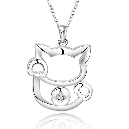 Stylized Waving Meneki Neko Lucky Cat Necklace