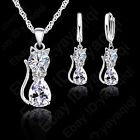 CZ Oval Cat, Sterling Silver Set