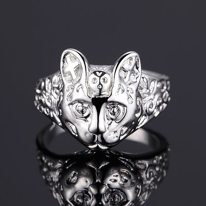 Chunky Etched Cat Face Ring