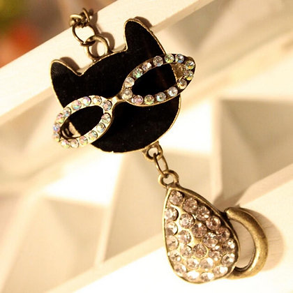 Cat with Glasses Necklace