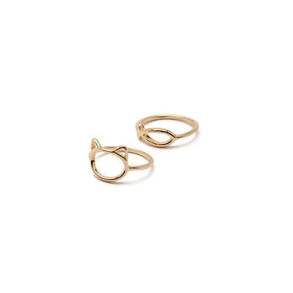Gold Cat & Fish Rings