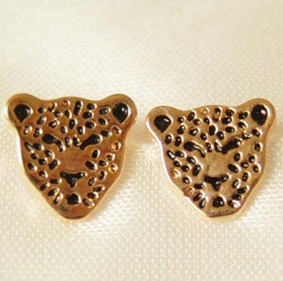 Gold & Black Leopard Face Earrings