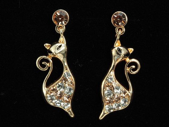 Austrian Crystalled GP Cat Earrings