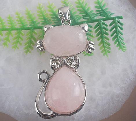 Rose Quartz Cat Long Necklace