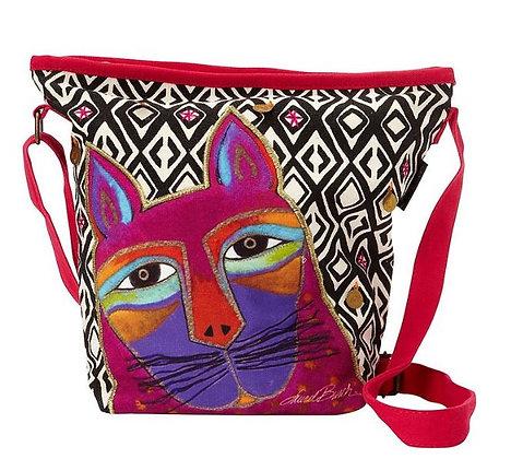 """""""Whiskered Cats"""" Crossbody Bag - Fuchsia"""