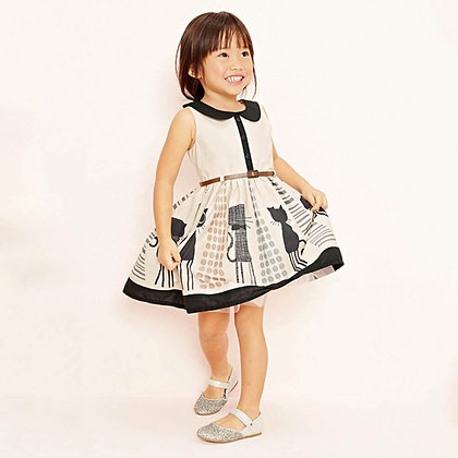 Girl's Cartoon Cat Sleeveless Dress