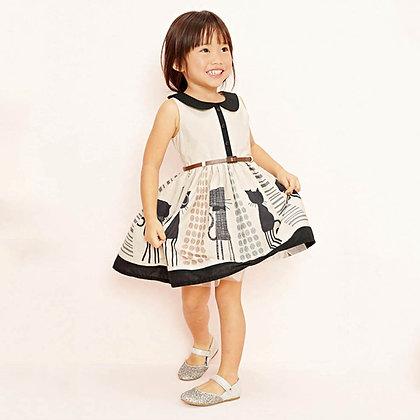 Girl's Cartoon Cat Sleeveless Dress