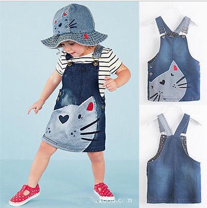 Cat Face Denim Overalls Dress