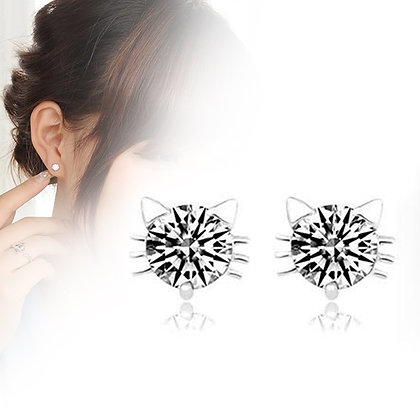 CZ Silver Cat Face Stud Earrings