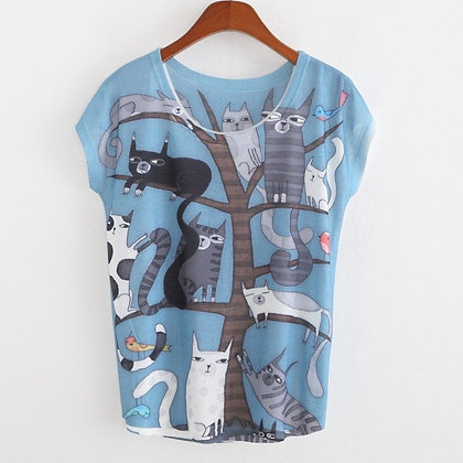 """""""Cool Cats & Birds In a Tree"""" Top"""