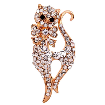 Fancy Bow Cat Brooch