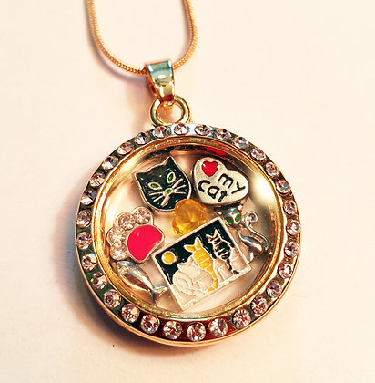 Feline Focused Floating Charm Locket - Yellow Gold