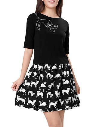 Cat Print Top & Skirt