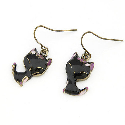 Cute Black Enamel Cat Earrings